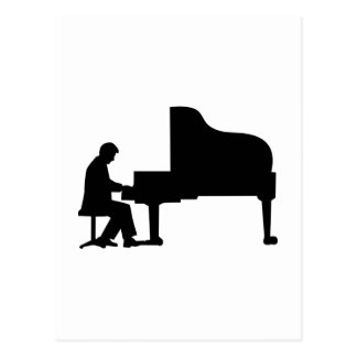 Grand piano pianist postcard