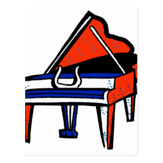 Grand Piano Red White Blue Graphic Image Postcards