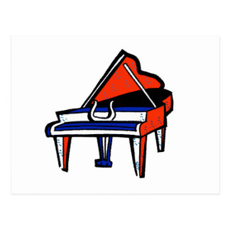 Grand Piano Red White Blue Graphic Image Postcard
