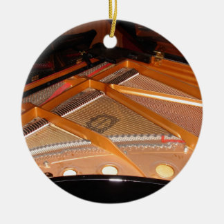 Grand Piano Soundboard Double-Sided Ceramic Round Christmas Ornament