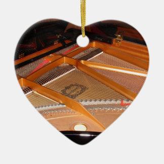 Grand Piano Soundboard Double-Sided Heart Ceramic Christmas Ornament