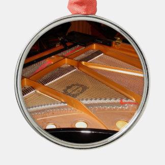 Grand Piano Soundboard Round Metal Christmas Ornament