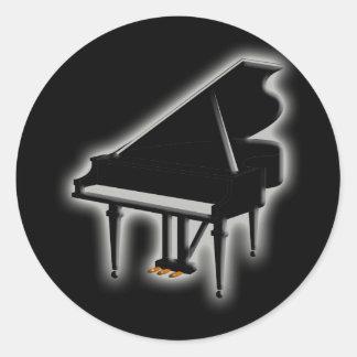 Grand Piano Round Stickers
