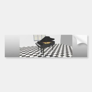 Grand Piano & Tile Floor: 3D Model: Bumper Sticker