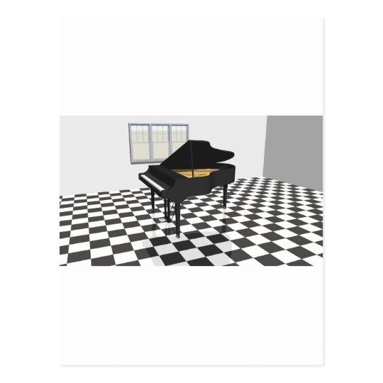 Grand Piano & Tile Floor: 3D Model: Postcard