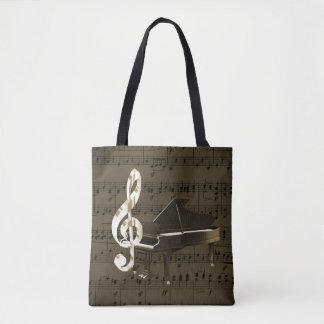 Grand Piano Treble Clef Bronze Sheet Music Tote Bag