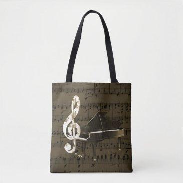 moondreamsmusic Grand Piano Treble Clef Bronze Sheet Music Tote Bag