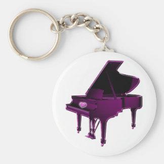 Grand Piano With Heart Keychain