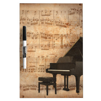 Grand Piano with Music Notes Dry-Erase Whiteboards