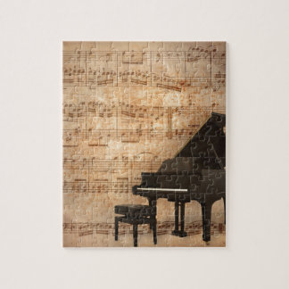Grand Piano with Music Notes Jigsaw Puzzle