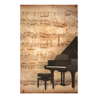 Grand Piano with Music Notes Stationery