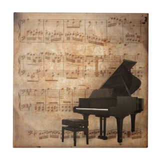 Grand Piano with Music Notes Tile