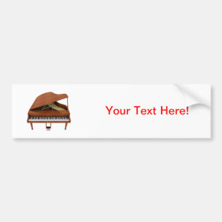 Grand Piano: Wood Finish: 3D Model: Bumper Sticker