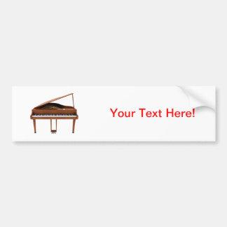 Grand Piano: Wood Finish: 3D Model: Bumper Sticker