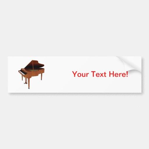 Grand Piano: Wood Finish: 3D Model: Car Bumper Sticker