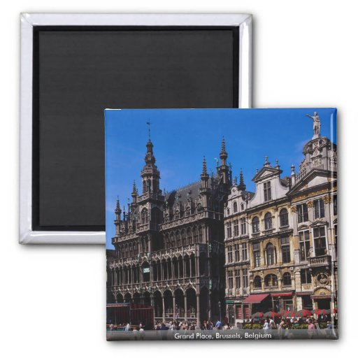 Grand Place, Brussels, Belgium 2 Inch Square Magnet