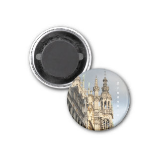 Grand Place in Brussels at sunset in cloudy day 1 Inch Round Magnet