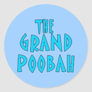Grand Poobah Blue Font Products Round Sticker