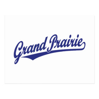 Grand Prairie script logo in blue Postcard