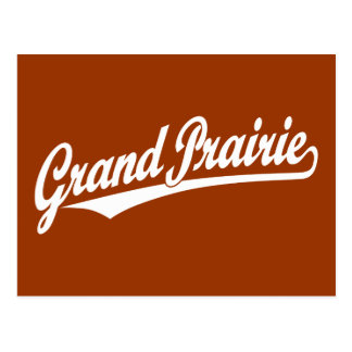 Grand Prairie script logo in white Postcard