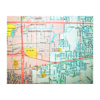 GRAND PRAIRIE, TX Vintage Map Canvas Print