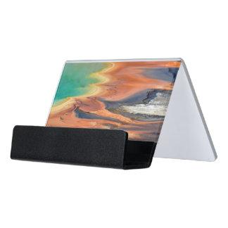 Grand Prismatic Spring Runoff Desk Business Card Holder