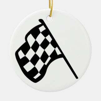Grand Prix Flag Double-Sided Ceramic Round Christmas Ornament