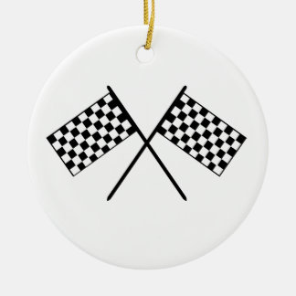 Grand Prix Flags Double-Sided Ceramic Round Christmas Ornament