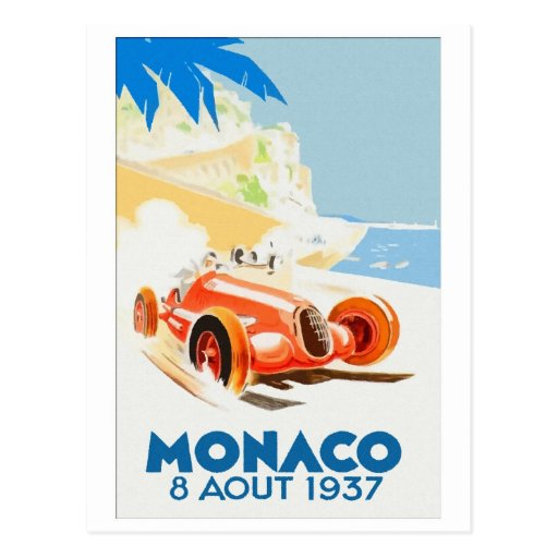 Grand Prix Monaco 1937 aquarelle Postcard