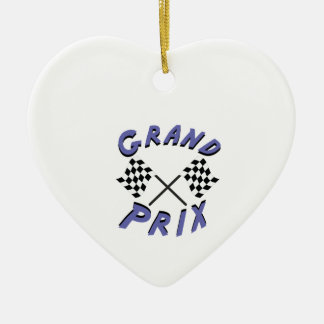 Grand Prix Double-Sided Heart Ceramic Christmas Ornament