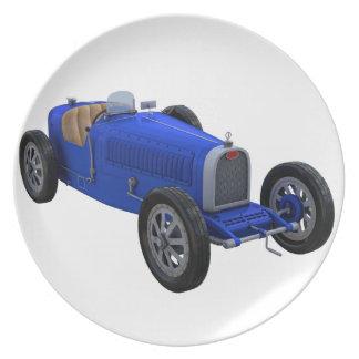 Grand Prix Racing Car in Blue Dinner Plate