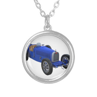 Grand Prix Racing Car in Blue Round Pendant Necklace