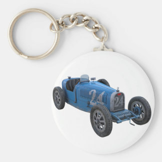 Grand Prix Racing Car in Light Blue Keychain
