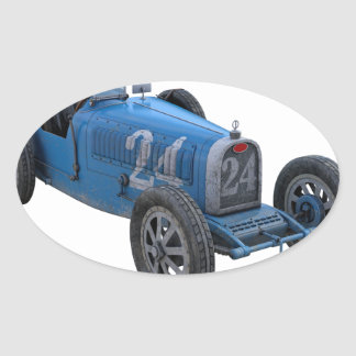 Grand Prix Racing Car in Light Blue Oval Sticker
