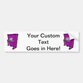 grand purple upright piano with music.png bumper sticker