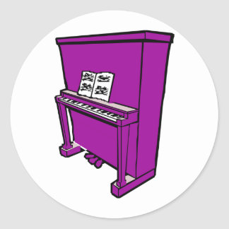 grand purple upright piano with music.png classic round sticker