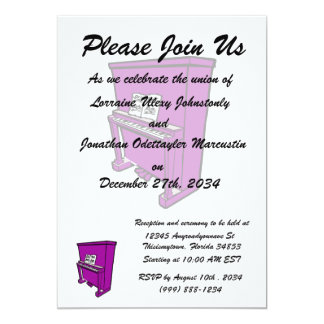 grand purple upright piano with music.png 5x7 paper invitation card