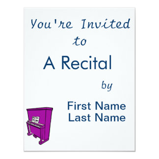 grand purple upright piano with music.png 4.25x5.5 paper invitation card