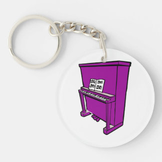 grand purple upright piano with music.png keychain