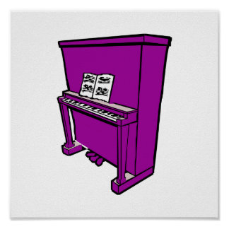 grand purple upright piano with music.png poster