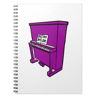 grand purple upright piano with music.png spiral notebook