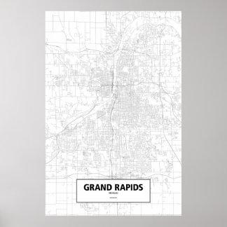 Grand Rapids (black on white), Michigan Poster
