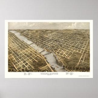 Grand Rapids, mapa panorámico del MI - 1868 Poster
