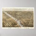 Grand Rapids Michigan 1868 Antique Panoramic Map Posters