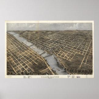 Grand Rapids Michigan 1868 Antique Panoramic Map Poster