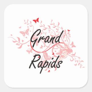 Grand Rapids Michigan City Artistic design with bu Square Sticker