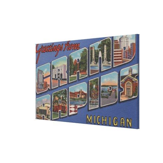 Grand Rapids, Michigan - Large Letter Scenes 2 Canvas Print