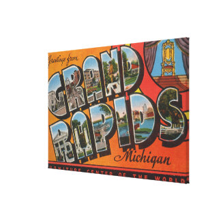 Grand Rapids, Michigan - Large Letter Scenes Canvas Print