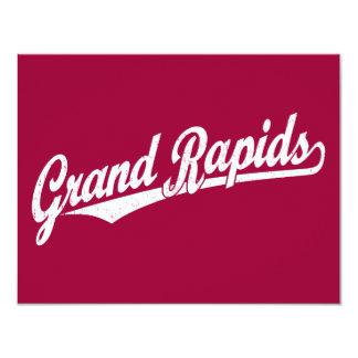"Grand Rapids script logo in white distressed 4.25"" X 5.5"" Invitation Card"