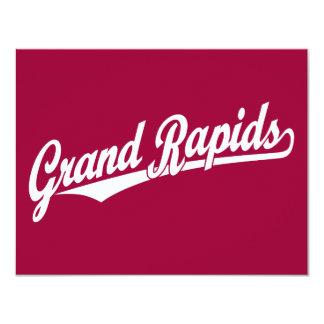 "Grand Rapids script logo in white 4.25"" X 5.5"" Invitation Card"